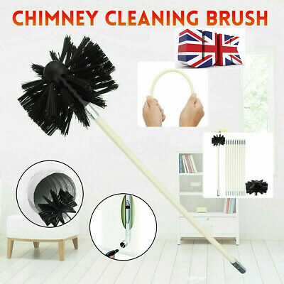 10 Piece Chimney Sweep Set | Flue Sweeping Brush & Rod Kit | Soot Cleaning Rods