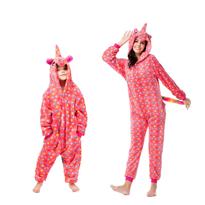 Unisex Pajamas Jumpsuit Red Nightgown Cosplay Unicorn Kigurumi Party Sleepwear