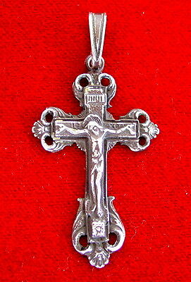 Russian Cross Silver Antique Large Sterling Jesus Christ Orthodox Russia, Patina