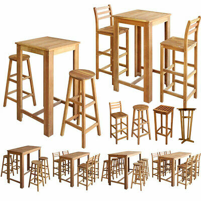 Solid Acacia Wood Bar Stools Chairs Table Set Breakfast Dining Cafe Kitchen Pub