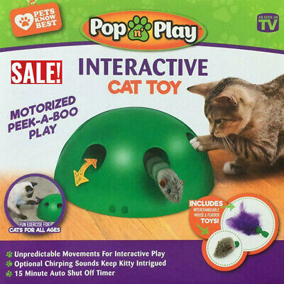 Funny Pop N'Play Interactive Motion Cat Toy Mouse Electronic Pet Toy Cat Toy US~