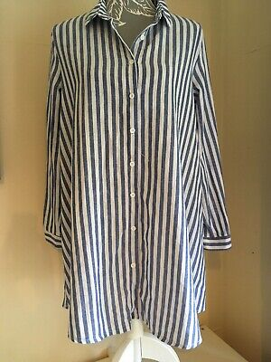 Ladies Long Length Blue & White Striped Long Sleeved Blouse Size 14 Maternity?