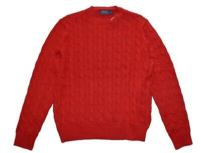 Polo Ralph Lauren Women's Cotton Cable Sweater Jumper Red Size L NWT