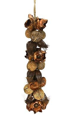 Huge Hanging Decorative Rope of Exotic Dried Seed Pods, 120cm long. Mixed Thai