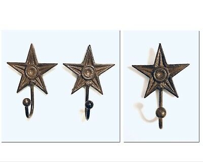 Trio of Rustic Brown Cast Iron Star Wall Hanging Hooks