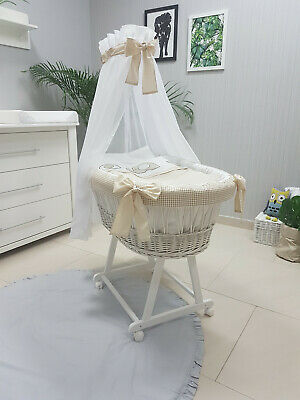 Complete Wicker Moses Basket With Stand Bedding Drape Mattress Sw-01