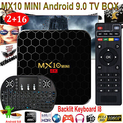 MX10 MINI Android 9.0 4K UHD 2+16G TV BOX Keyboard I8 WIFI USB 3D Media Player