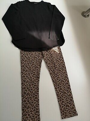Zara Girls Leopard Print Leggings and Long Sleeved Tee - Size 9/10 Years