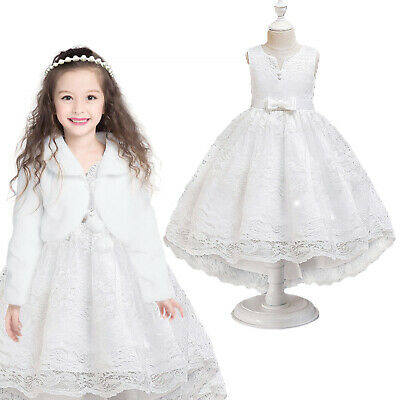 Girls Princess Wedding Dress Kids Party Bridesmaid Floral Lace Bow Prom Outfit