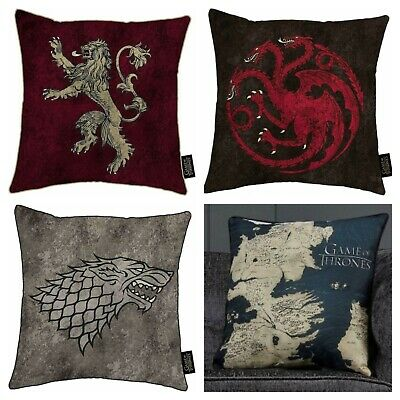 HBO Game of Thrones Cushion Westeros Map Lannister House Stark Targaryen Gift