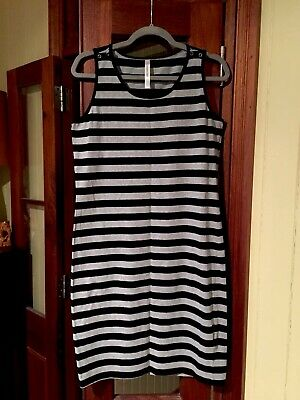 TRIMESTER Black and grey stripe Breastfeeding/Nursing Midi Dress L
