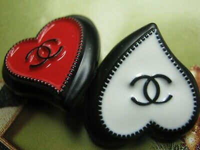 CHANEL  2 AUTHENTIC black white  red  Heart shape BUTTONS 2 STAMPED
