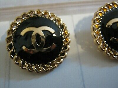 CHANEL  2 CC  LOGO BLACK, MATTE GOLD  20mm BUTTONS THIS IS FOR TWO
