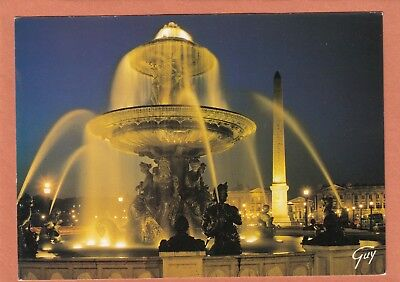164 - Paris - Fontaine De La Place De La Concorde Et Obelisque Illumines - Neuve