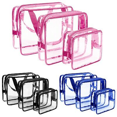 3x Clear Makeup Bag Set Travel Cosmetic Transparent PVC Toiletry Bags Pouch Wash