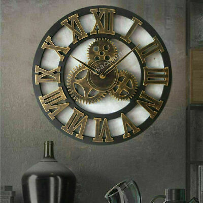 New 45CM Outdoor Garden Large Wall Clock Vintage Roman Numeral Gear Rustic UK