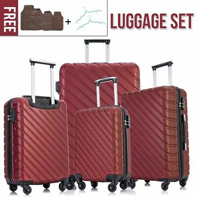 4 Pieces Luggage Set Hardside Spinner Suitcase ABS Light Travel Case (silver)