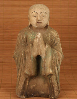 big ancient chinese old wood hand carved kneel buddha statue figure collectable