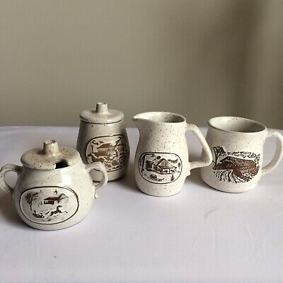 Onion River Pottery Vermont Set Lot of 4 - Mug Creamer Sugar Pot Jar- EUC