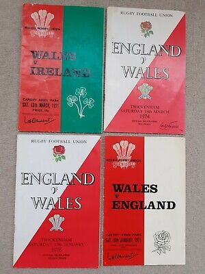 4 x Wales/England Rugby Union Programmes 1970s