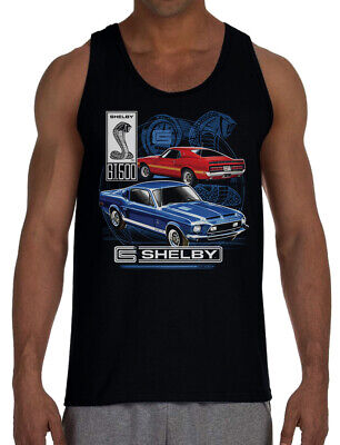 Men's Shelby GT500 Black Tank Top T-Shirt Ford Mustang Cobra Racing Classic Car