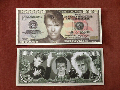 Two David Bowie One Million Dollars Doublesided Novelty Banknotes FREEP&P