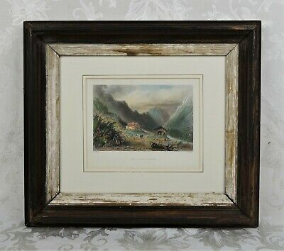 Antique 19th C W. H. Bartlett Engraving The Willey House New Hampshire Landscape