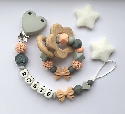 Personalised Dummy Clip And Teether Set -Pacifier Clip - Soother Clip - Peach