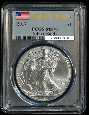 2017 $1 US American Silver Eagle Coin (PCGS MS 70 MS70) First Strike (09411)