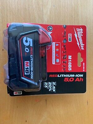Milwaukee M18B5 Red Lithium-Ion 18V 5Ah Genuine Battery