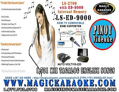 Magic Sing LS-9000 Videoke 1751 Mix Tagalog English Songs - HDTV COMPATIBLE