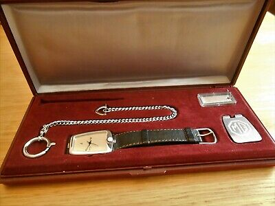 Mg Vintage Numbered Swiss Watch In Original Case With Fob Chain & Desk Stand