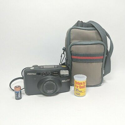 Pentax IQZoom 38mm-140mm Compact 35mm Film Camera Tested + Case + 24 Exp Film