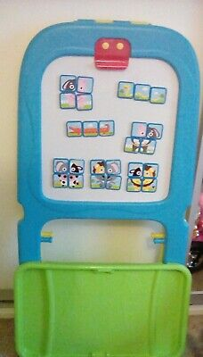 Kids Artist Painting chalk Easel Artist Double sided blue yellow Chad Valley £30