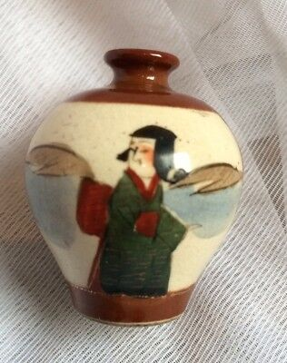 Antique Japanese Satsuma Miniture Pottery Vase,Early 20Th Century,Hand Paint 4Cm