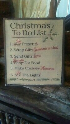 Primitive Sign ~ Christmas To Do List ~ Seasonal Wooden Sign ~ Awesome ~ Must Se