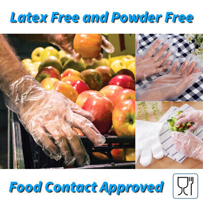 100 x Disposable Gloves Latex and Powder Free Clear HDPE Catering Food Cleaning