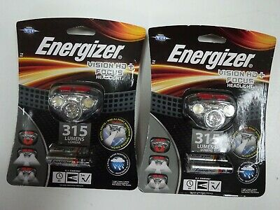 2 new Energizer LED Headlamp Zoomable Flashlight 50 Hour Run Time 315 Lumens