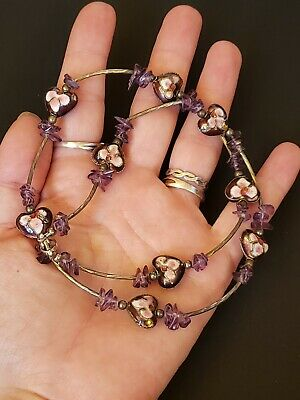 Vintage Amethyst Two Sided Heart Chinese Cloisonne Necklace