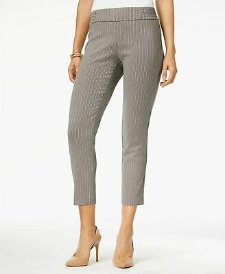 JM Collection Womens Ankle Pants Riveted Pull-On Metallic Black White Petite PL
