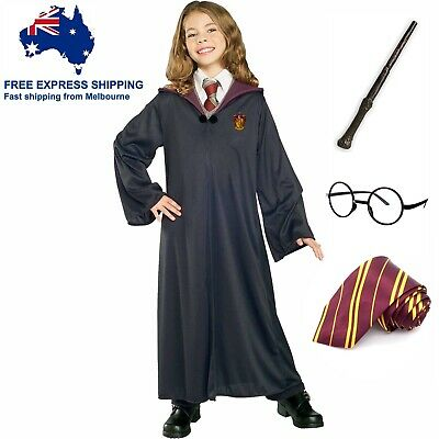Harry Potter Costume Set Girl Boy Book Week Full Kit Robe Glasses Tie Wand