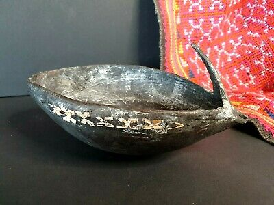 Old Papua New Guinea Carved & Inlaid Beetle Nut Lime Cup …beautiful collection..