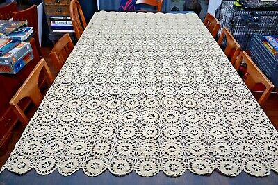 "Vintage Handmade Crochet Tablecloth Bedspread Coverlet Cream Color 82""X64"""