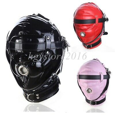 Slave Head Hood Mask Headger Lockable Open Mouth Pu Leather Strap Belt BDSM Toy