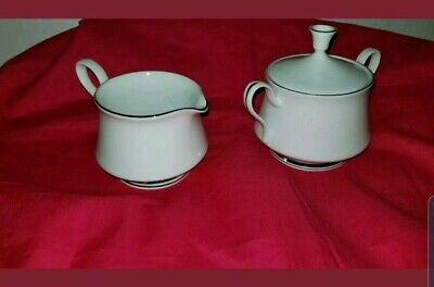 Lenox Oxford Lexington Bone China Platinum Rings Creamer and Covered Sugar Bowl