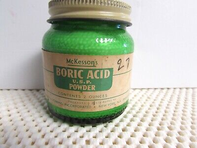 VINTAGE APOTHECARY MEDICAL McKESSON BORIC ACID GREEN BOTTLE w/ORIG. PAPER LABEL