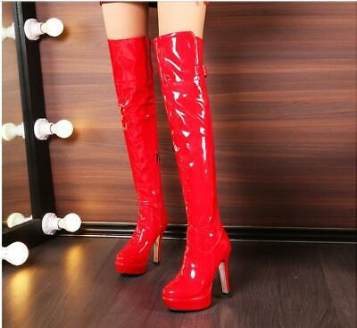 Women Platform Heels  knee High patent Leather Boots Zip  Knee Thigh Boots