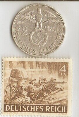 """*king """"TUT"""" +*rare WW2 *german STAMP of """"SS""""-MACHINEGUNNERS + SILVER EAGLE coin"""