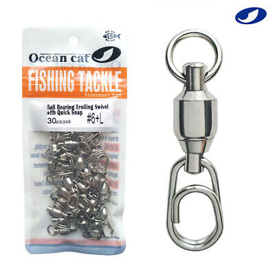 100pk Stainless Steel Fishing Fast lock Barrel Link Clip Snaps Quick Swivel 0-6#