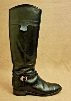 Tory Burch Women Black Leather Riding Tall Knee High Zip Up Buckle Boots Sz 8 M